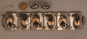 Lot 558: Mixed Metals Bracelet & Georg Jensen earrings