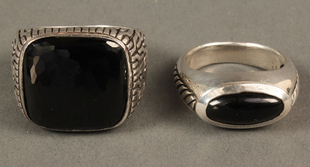 Lot 559: 2 Men's Sterling Rings, Hardy and Yurman