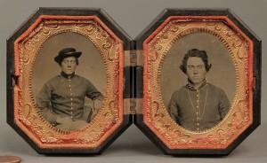 Lot 55: Pair of Civil War Tintypes in Hexagonal Case