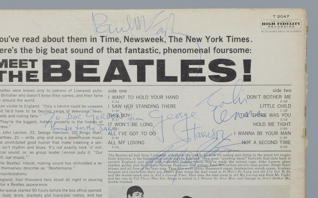 """Lot 566: Signed Meet The Beatles Album, """"Thanks for jabs"""""""