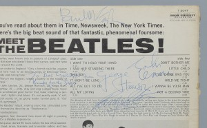 "Lot 566: Signed Meet The Beatles Album, ""Thanks for jabs"""