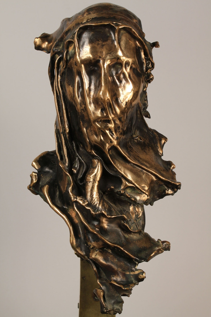 Lot 571: Large Bronze Bust w/ Veiled Face