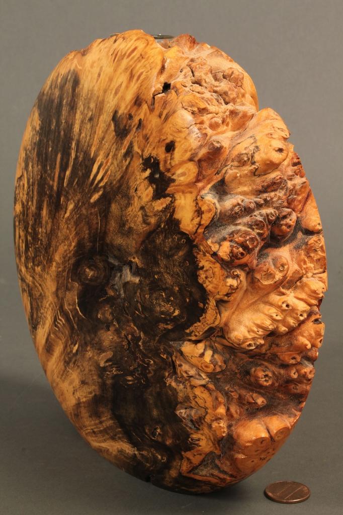 Lot 577: Lot of 3 Modernist Wooden Burlwood Vessels