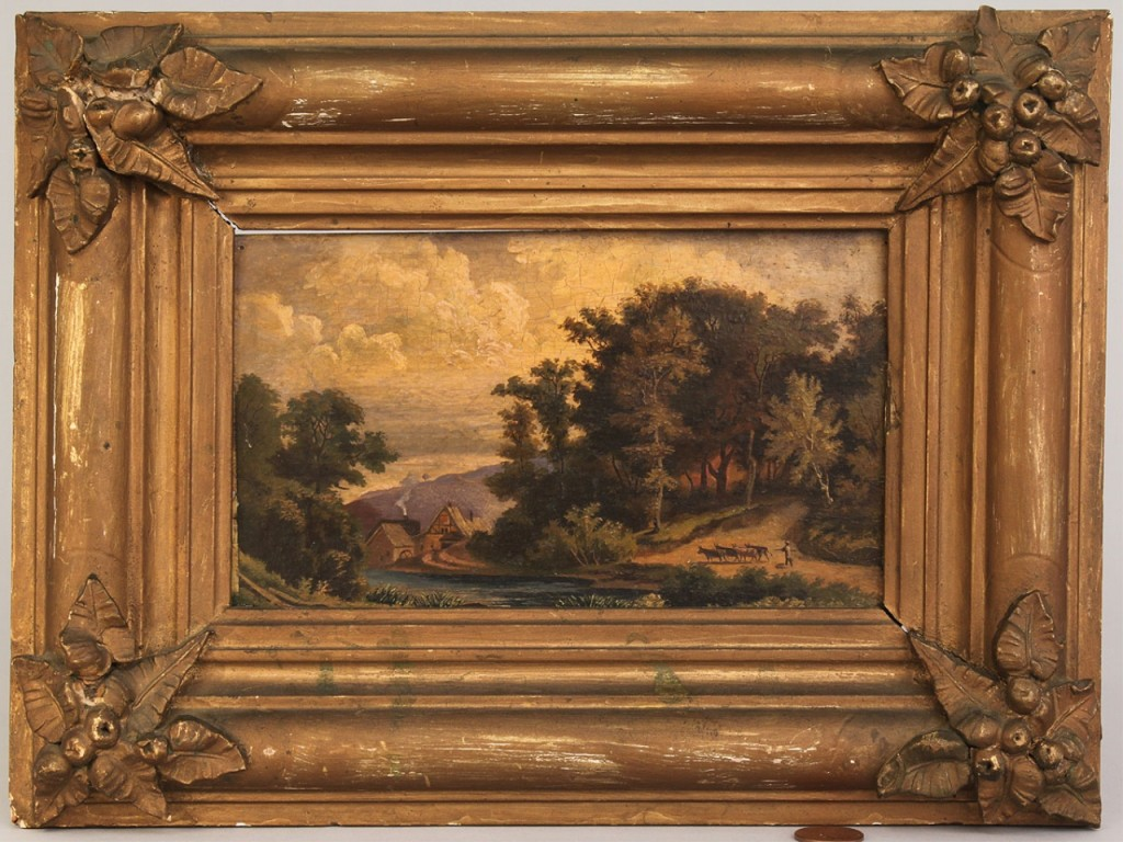 Lot 585: 19th C. European Oil on board landscape