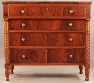 Lot 589: American Sheraton Mahogany Chest of Drawers
