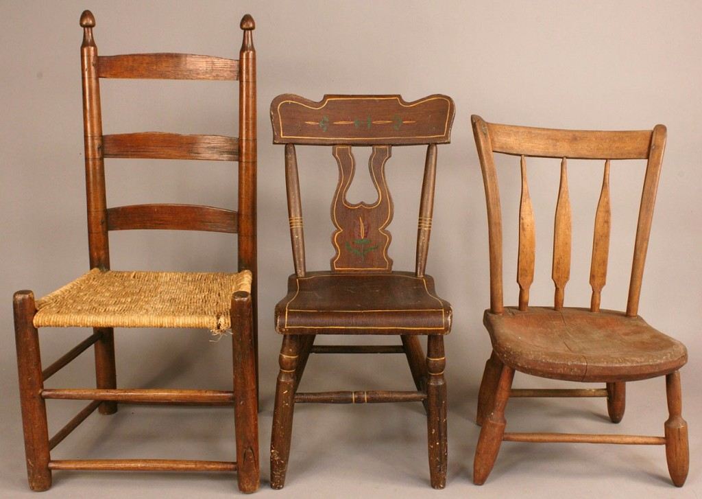 Lot 592: Grouping of Chairs, one signed and dated 1861