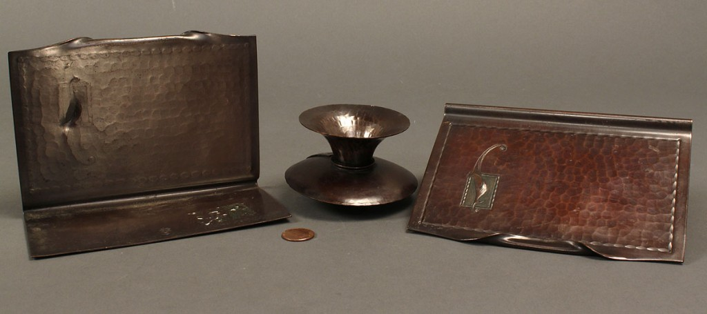 Lot 594: 2 Roycroft desk items: bookends & candlestick