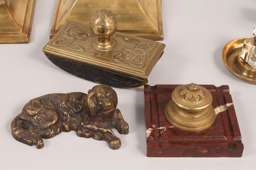 Lot 596: Assembled Brass desk and inkwell items, 17 items