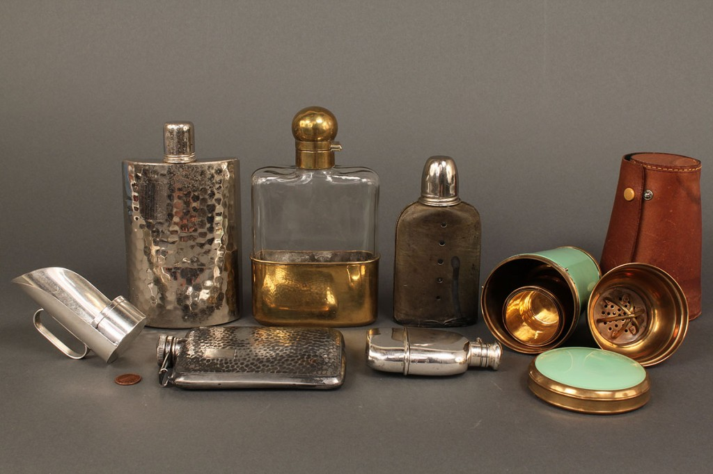 Lot 598: Group of Various Flasks, Travel Shaker & more