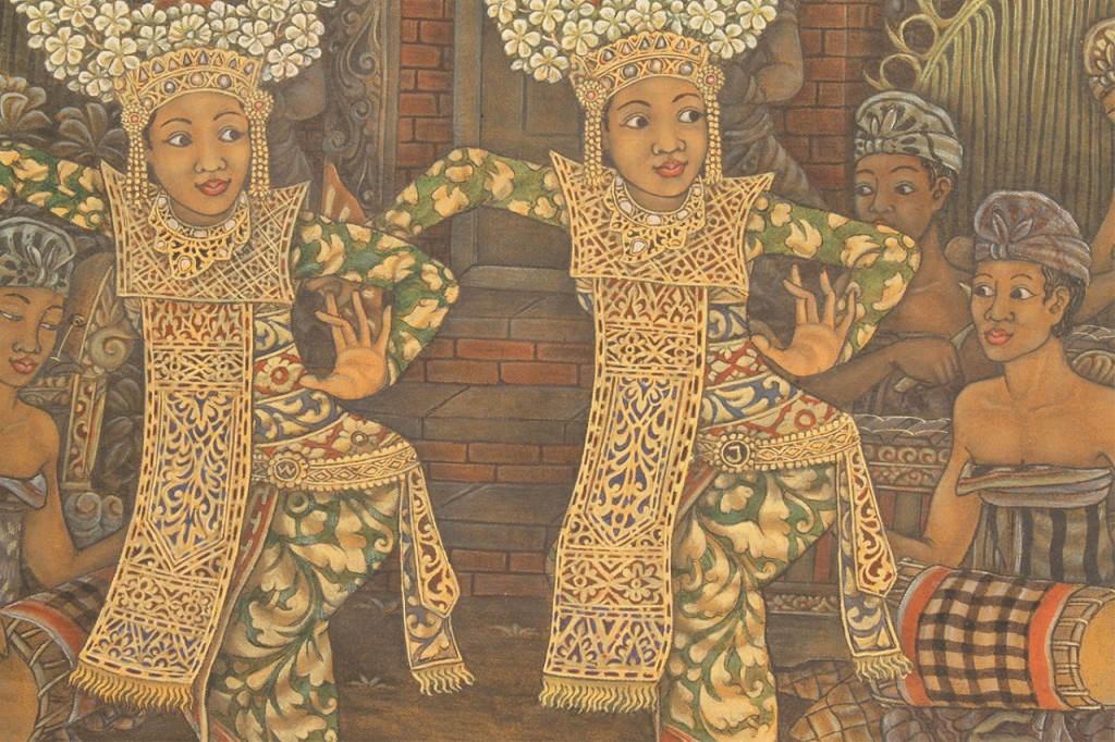 Lot 599: Balinese Gouache on Canvas painting, Widja