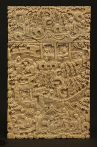 Lot 5: Asian Ivory calling card case, lift top, rectangul
