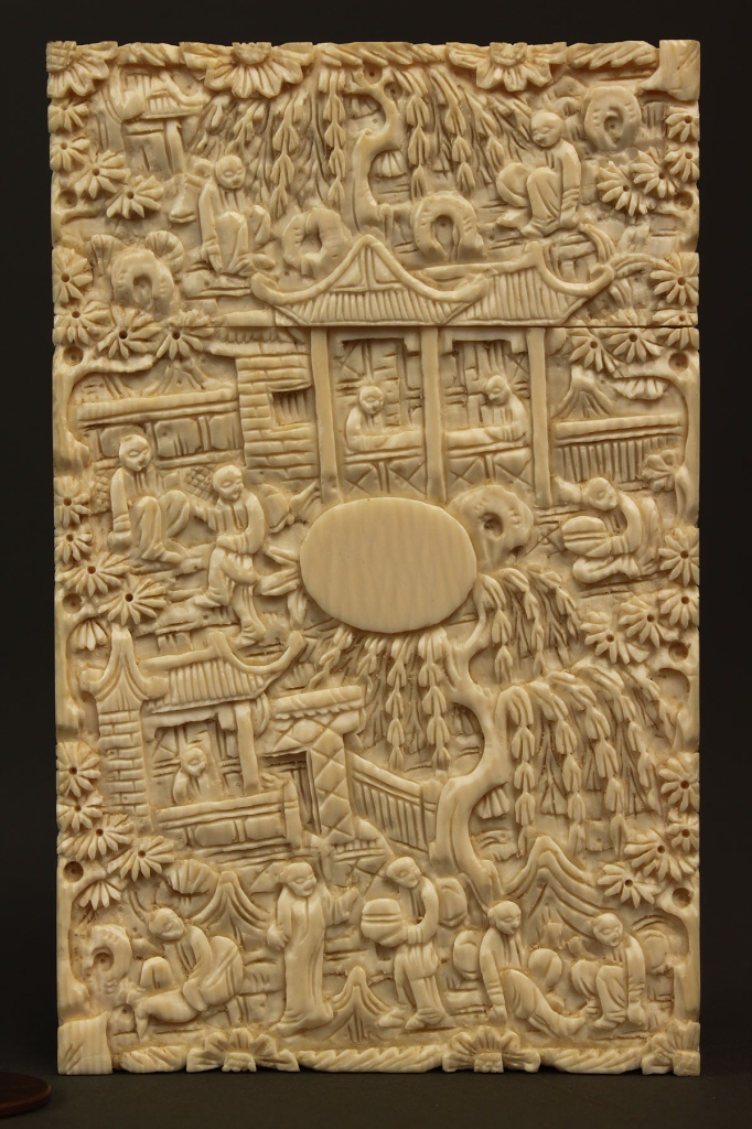 Lot 5: Asian Ivory calling card case, lift top, rectangul