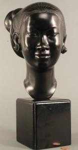 Lot 601: Bronze Bust of Laotian Female