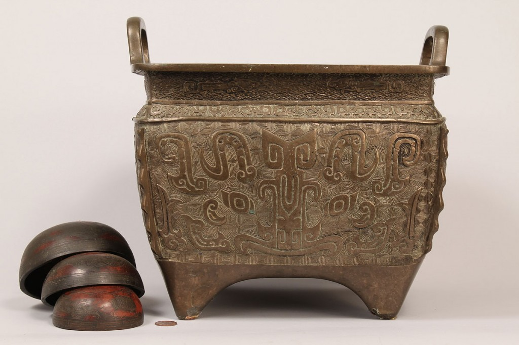 Lot 604: Asian 19th c. Bronze Planter with copper 3-pc Bell