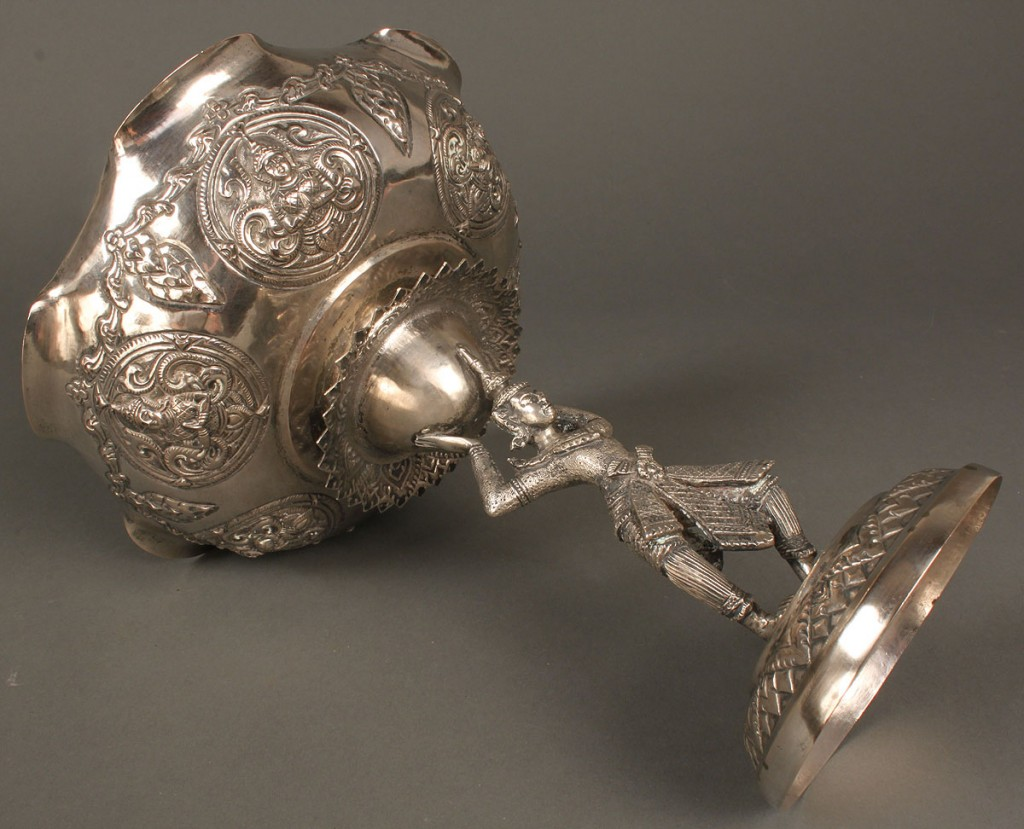 Lot 605: Asian Silver Compote w/ Relief Decoration