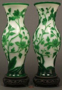 Lot 606: Pair of Peking Glass Vases