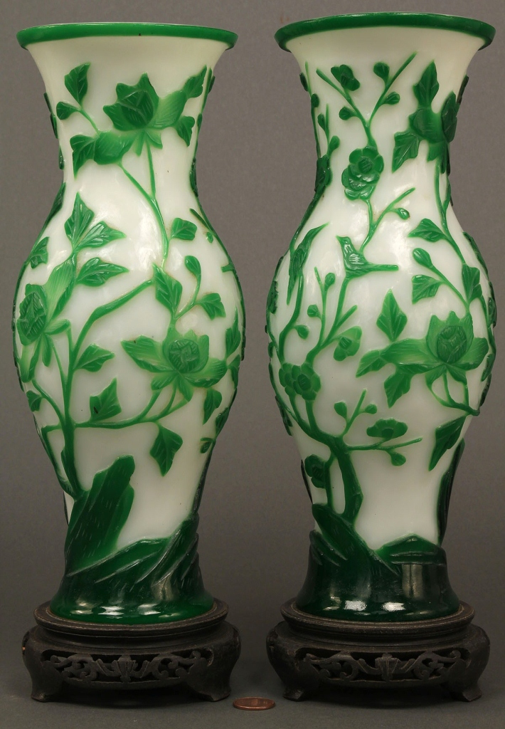 Lot 606: Pair of Peking Glass Vases
