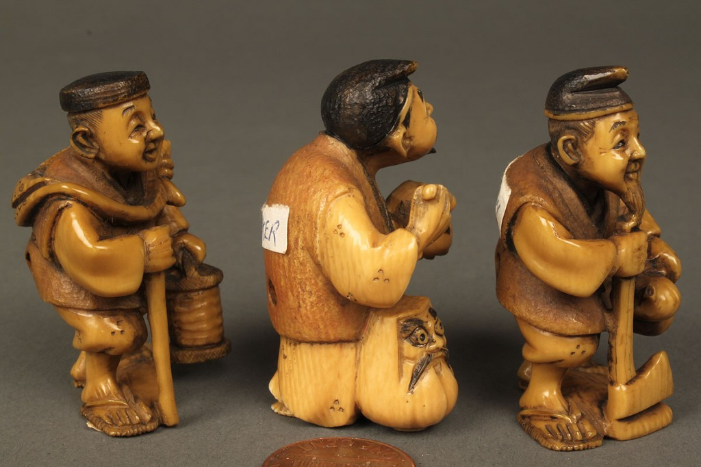 Lot 607: Ivory figural group of 6, various occupations