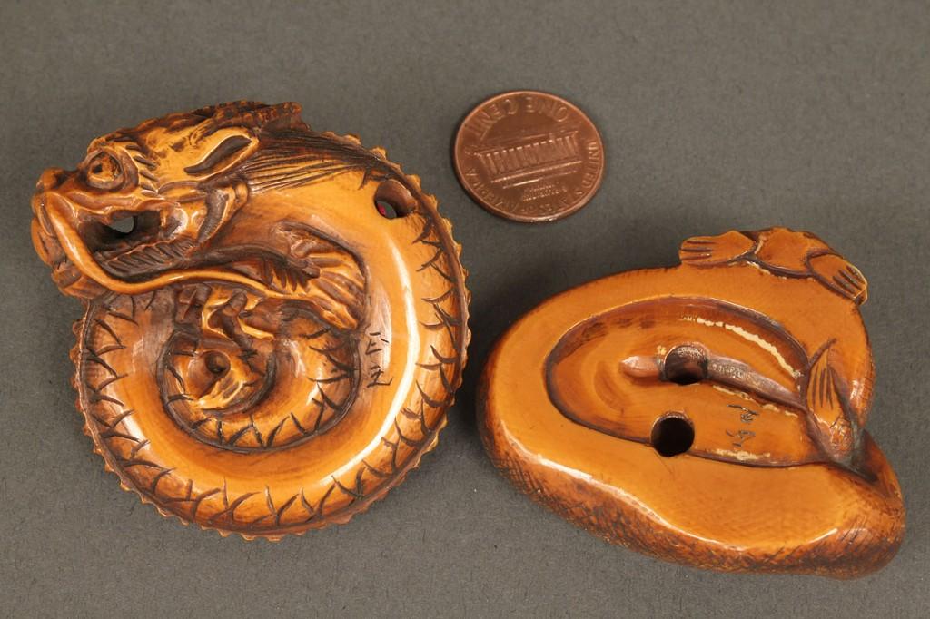 Lot 608: 2 Ivory Netsukes, Snake & Dragon