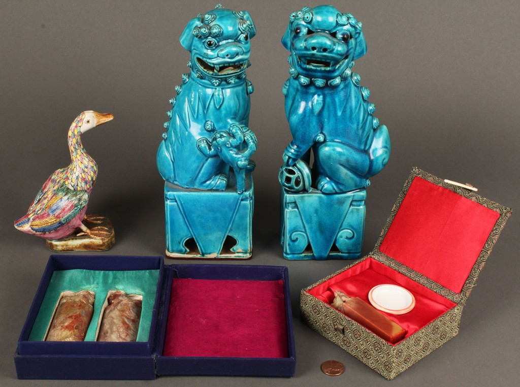 Lot 613: Group of Chinese Ceramic and Stone Seal Items