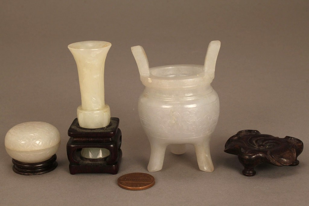 Lot 614: Collection of 3 miniature Chinese jade objects