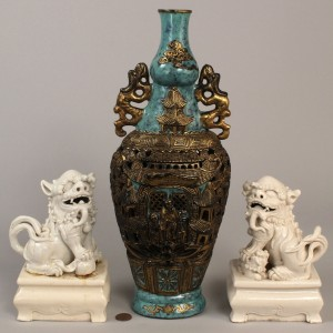 Lot 615: Lot of 3 Chinese Pottery Items, Vase & Foo Dogs