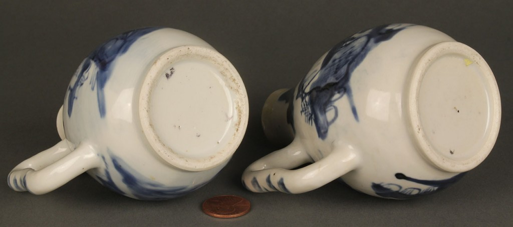 Lot 617: Pair of Chinese Export Blue & White Ewers