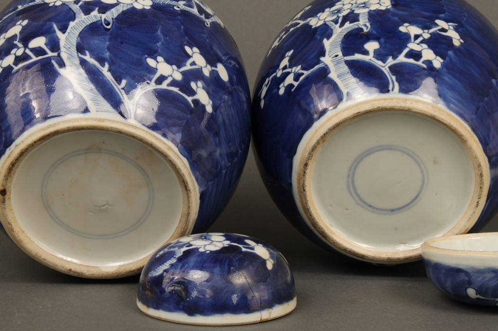 Lot 618: Pair of 19th c. Hawthorne Ginger Jars