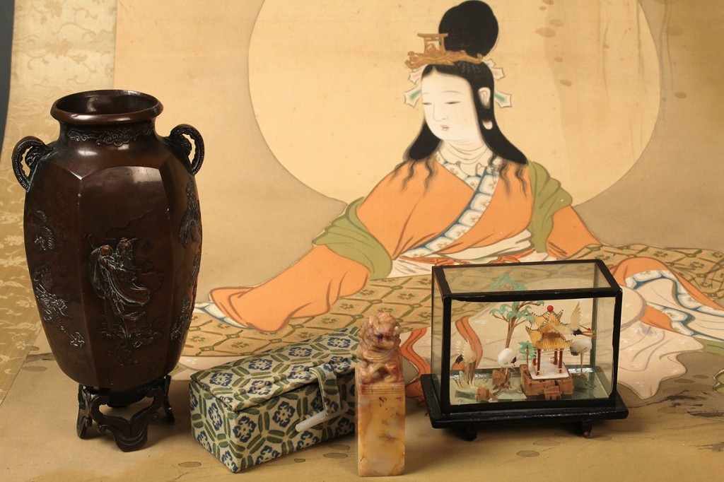 Lot 625: Four Asian Items: seal, vase, scroll & diorama