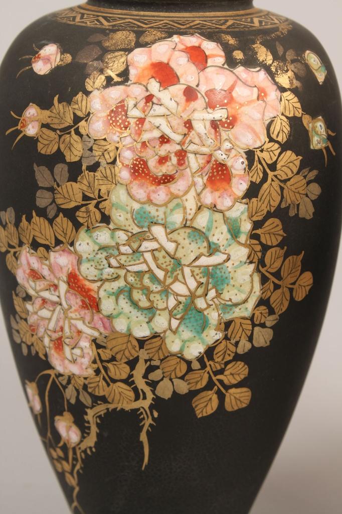 Lot 628: Pair Japanese Black Ground Satsuma Vases