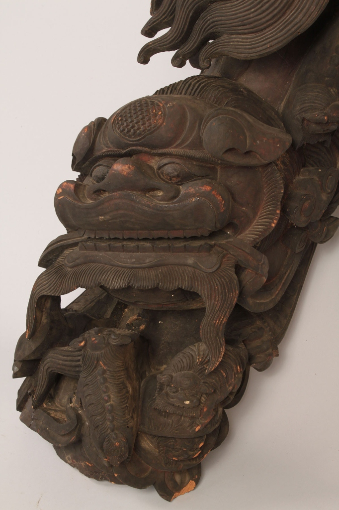 Lot 630: Chinese Architectural Foo Dog Carving
