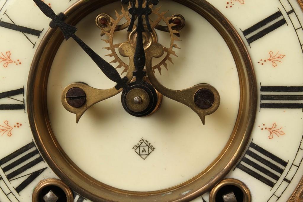 Lot 631: Ansonia Porcelain Mantle Clock w/ Royal Bonn Case