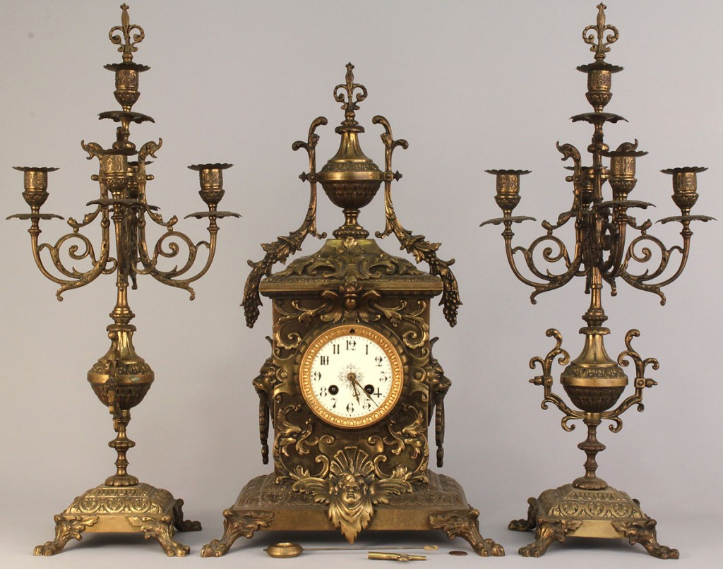 Lot 633: 3-pc French gilt bronze Mantel Clock & Candelabra