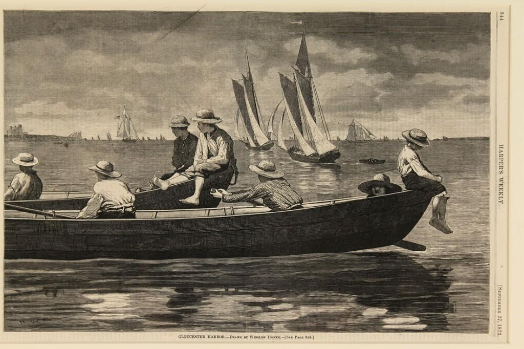 Lot 635: Two Winslow Homer wood engravings & ship engraving