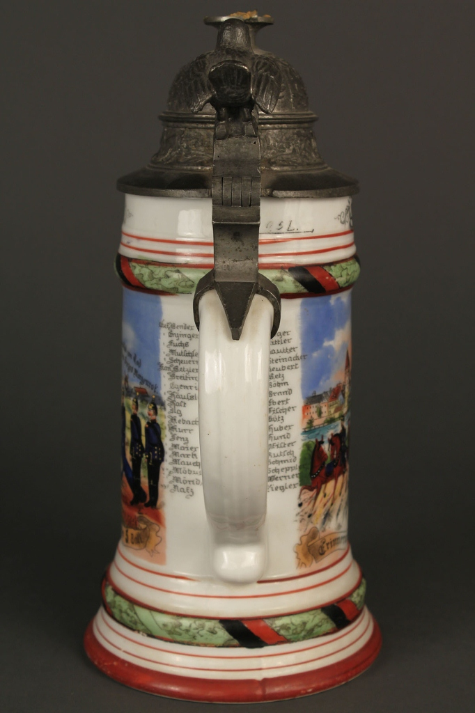 Lot 638: Two German regimental steins