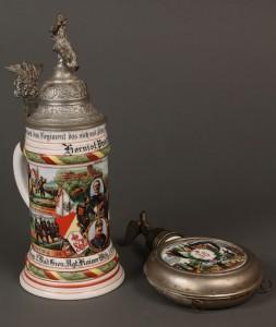 Lot 639: German regimental stein and flask