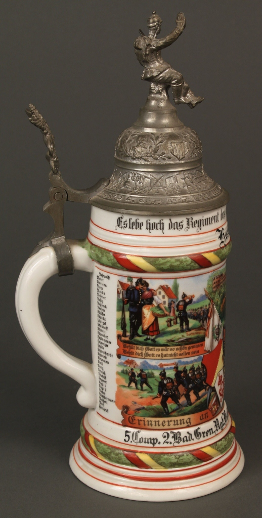 Lot 639: German regimental stein and flask