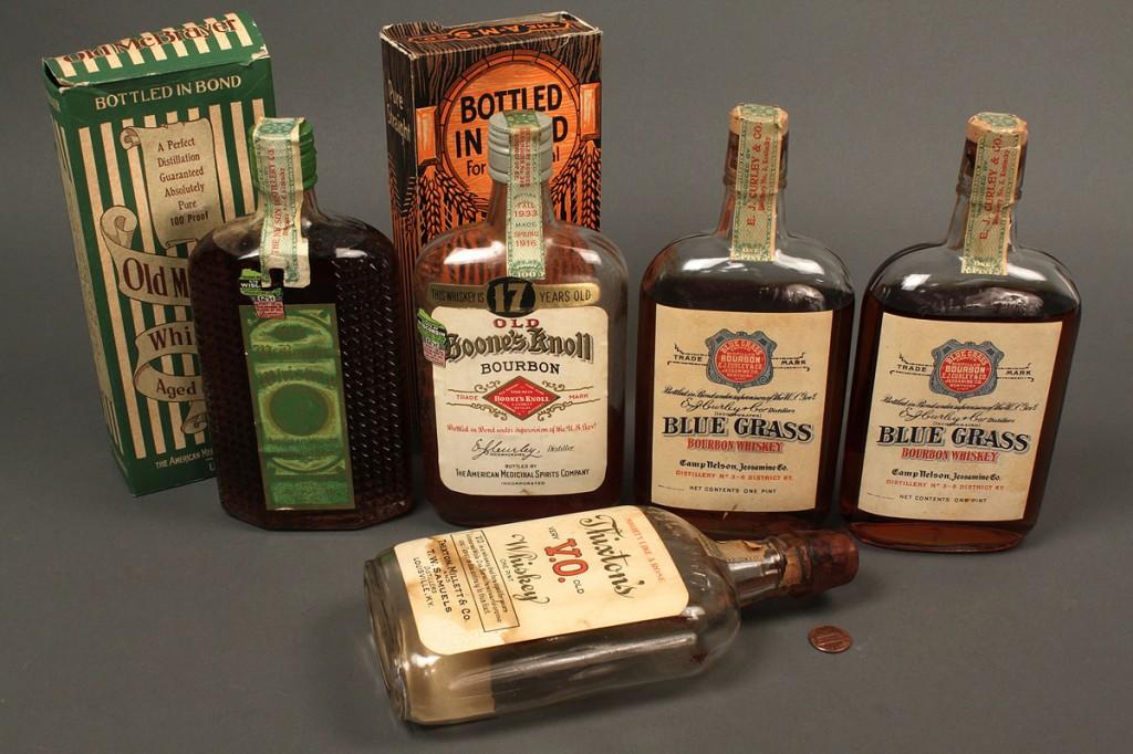 Lot 641: 4 Bottles KY Bourbon Whiskey, 1924-1934 sealed plu
