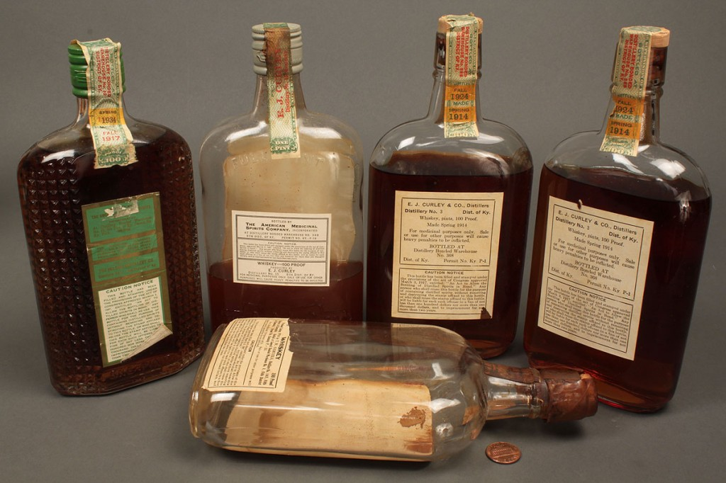 Lot 641: 4 Bottles KY Bourbon Whiskey, 1924-1934 sealed plu