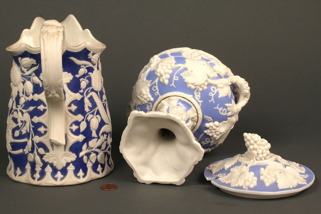 Lot 643: Lot of 2 Parian Items, Pitcher & Compote