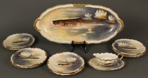 Lot 645: Limoges fish set, Blakeman & Henderson