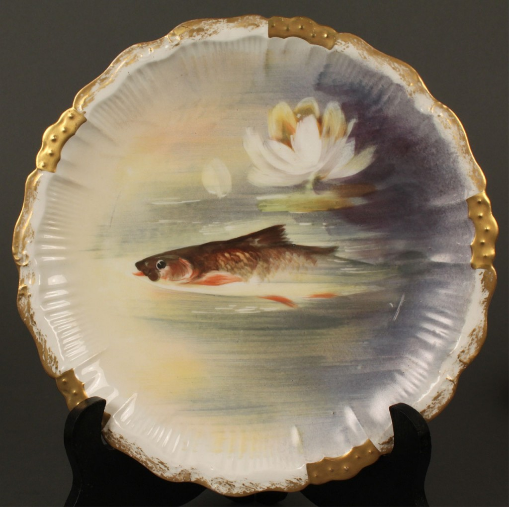Lot 645: Limoges fish set, Blakeman & Henderson