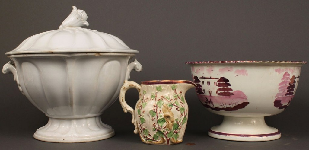 Lot 648: Lot of 3 pottery items,  Luster & Ironstone