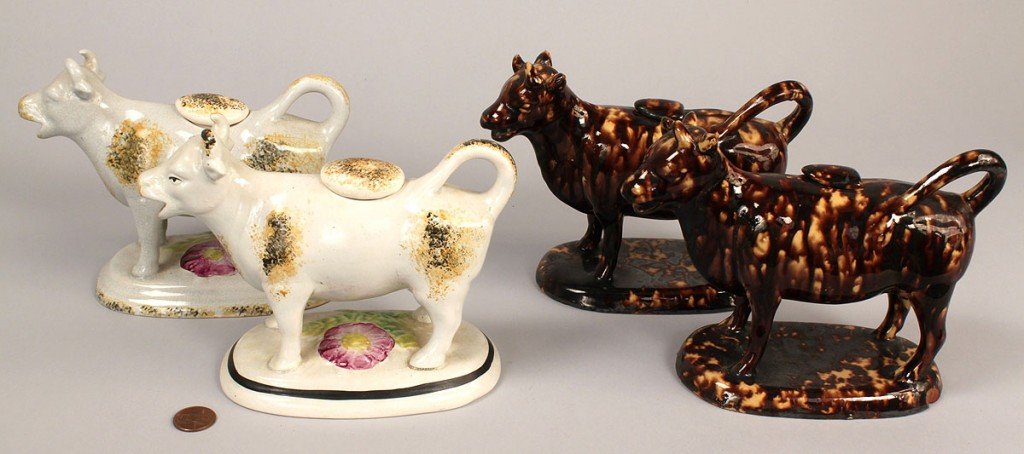 Lot 649: Lot of 4 Pottery Cow Creamers