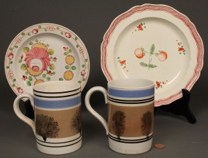Lot 650: 4 English Porcelain items – 2 Mocha mugs, Queenswa