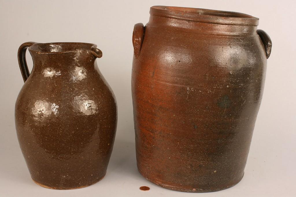 Lot 654: Lot of 2 Southern  Pottery Items, Pitcher & Jar