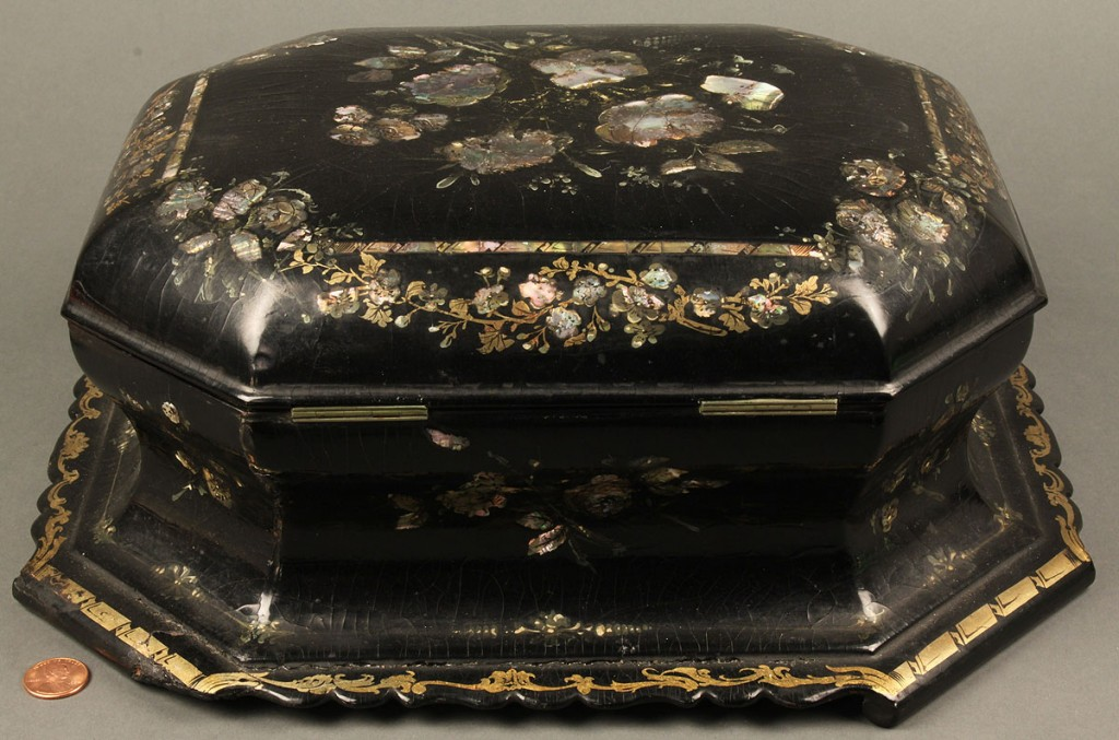 Lot 656: Mother of Pearl Sewing Box & contents