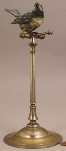Lot 660: Figural brass sewing bird stand