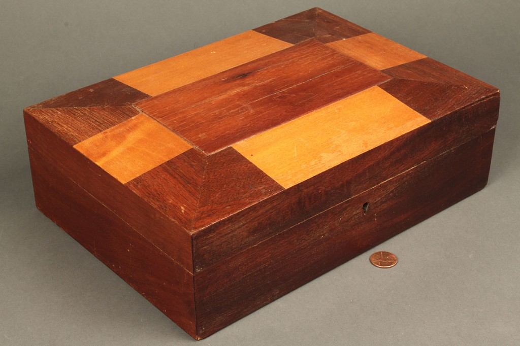 Lot 663: Shaker inlaid sewing box with contents