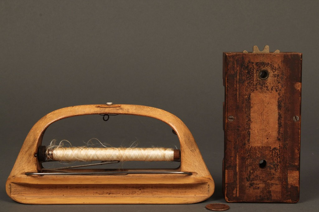 Lot 664: Five wooden sewing or weaving items